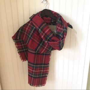 Merona Holiday Red Plaid Blanket Scarf